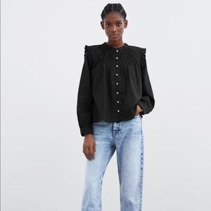 ZARA Long Sleeve Contrasting Lace Blouse